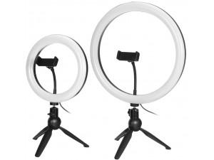 Штатив с кольцевой LED лампой 22 см Bakeey 360, с зажимом для смартфона и пультом ДУ
