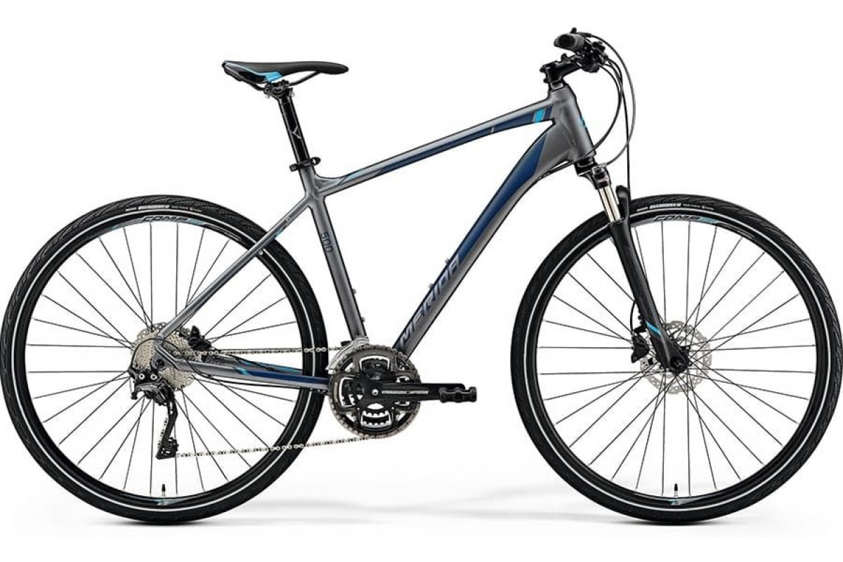 Велосипед Merida Crossway 500 MattDarkSilver/Blue/DarkBlue 2019 L(55cm)(73069)