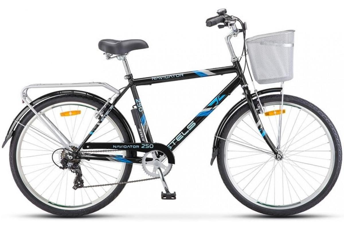 """Велосипед Stels Navigator 26"""" 250 Gent Z010 Чёрный (с корзиной) (LU089100) 19"""""""