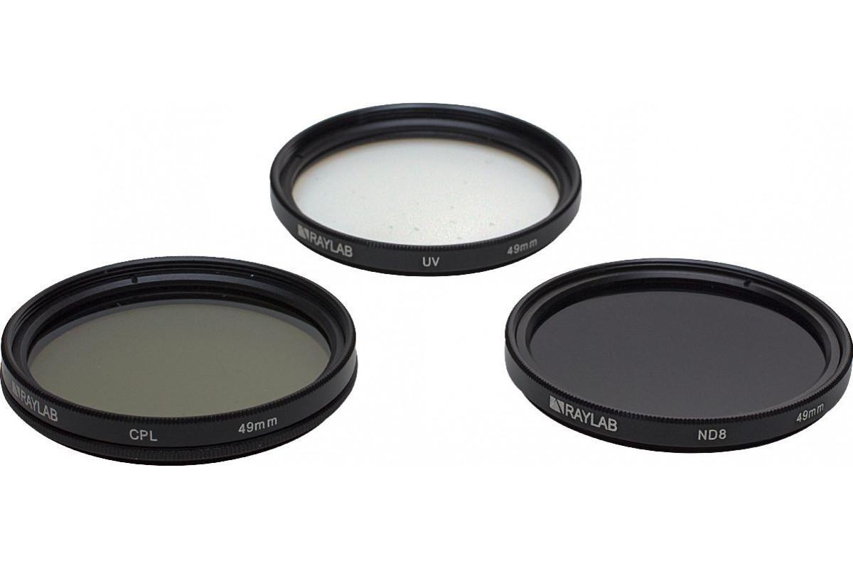 Набор из 3 фильтров RayLab (UV,CPL,ND8) 49mm