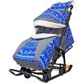 Snow Galaxy Luxe - Санки-коляска, Зимняя ночь Олени синие с сумкой и муфтой