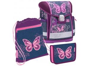 Набор: ранец Belmil Classy Purple Flying Butterfly, мешок для обуви и пенал без наполнения