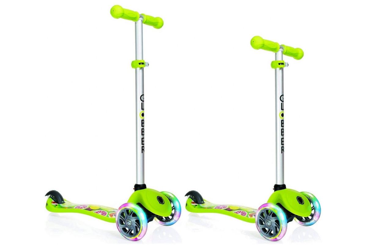 Y-Scoo Globber Primo Fantasy - детский самокат со светящимися колесами Fruitiness лайм зеленый