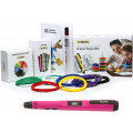 3D ручка Feizerg F001, розовая с набором для объемного рисования (Feizerg F001 Pink, Пластик 10 цветов, трафареты 20)